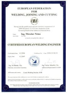 Uznání certifikovaného evropského svářečského inženýra