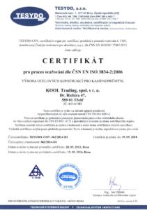 Osvědčení jakosti při svařování dle ČSN EN ISO 3834-2:2006