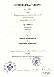 Osvědčení ČKAIT (Česká komora autorizovaných inženýrů a techniků) o autorizaci v oboru technologická zařízení staveb