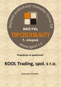 Certifikát TOP CZECH QUALITY